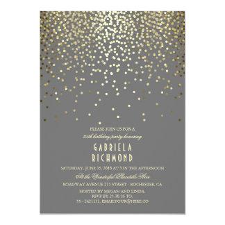 Carte Fête d'anniversaire vintage élégante de confettis