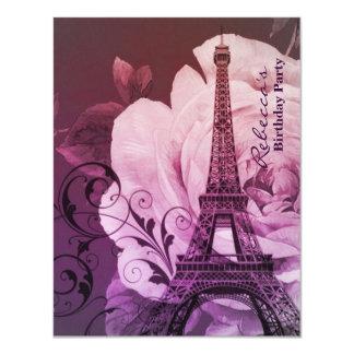 Carte fête d'anniversaire vintage florale de Tour Eiffel