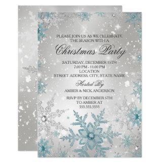 Carte Fête de Noël en cristal bleue et argentée de
