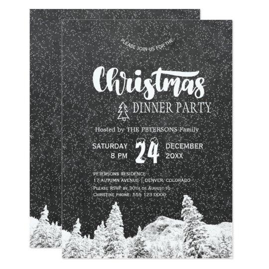 Carte Fête de Noël gris-foncé blanche de tableau