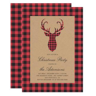 Carte Fête de Noël rustique de renne de plaid de tartan