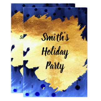 Carte Fête de vacances moderne d'or de bleu et de Faux