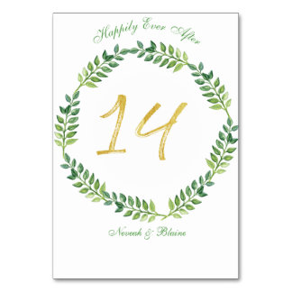 Carte Feuille vert romantique - table card14ring de
