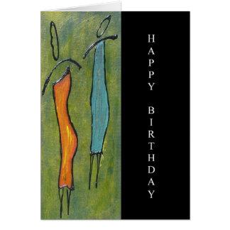 Carte figurative d'art de joyeux anniversaire de
