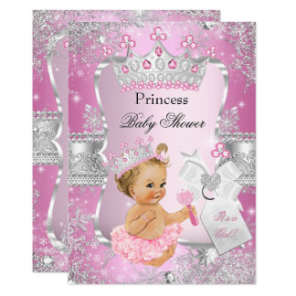 Carte Fille argentée rose de blonde de princesse baby