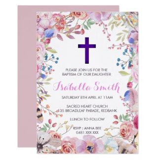 Carte Fille florale pourpre d'invitation de /Christening