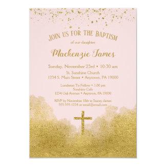 Carte Fille rose d'invitation de baptême de confettis