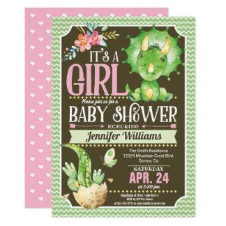 Carte Fille, vert et rose d'invitation de baby shower de