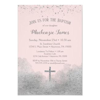 Carte Filles argentées roses d'invitation de baptême de