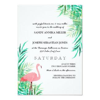 Carte Flamant d'aquarelle et mariage tropical de
