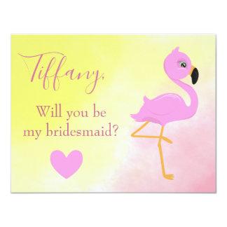 Carte Flamant rose serez-vous ma demoiselle d'honneur ?