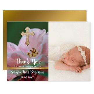 Carte Fleur de ressort de croix de photo de Merci de