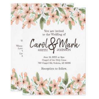 Carte Fleurs d'aquarelle. Mariage de ressort