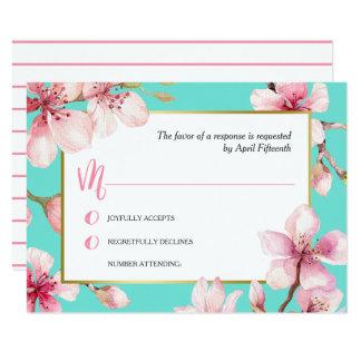 Carte Fleurs de cerisier d'aquarelle épousant RSVP