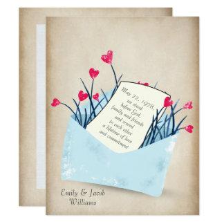 Carte Fleurs de coeur de renouvellement de voeu de