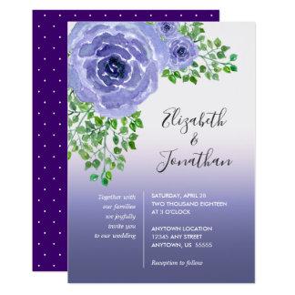 Carte Fleurs et verdure pourpres   d'aquarelle épousant