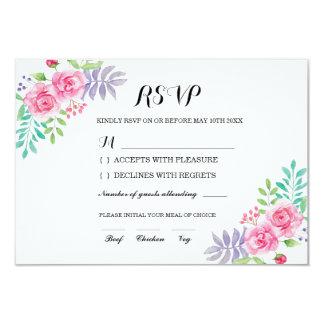 Carte Fleurs roses de couleur pour aquarelle florale de