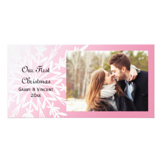 Carte Flocon de neige blanc sur premier Noël de rose