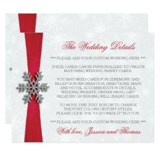 Carte Flocon de neige de Diamante et mariage rouge