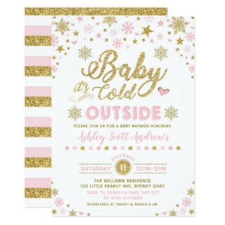 Carte Flocon de neige d'or de rose d'invitation de baby