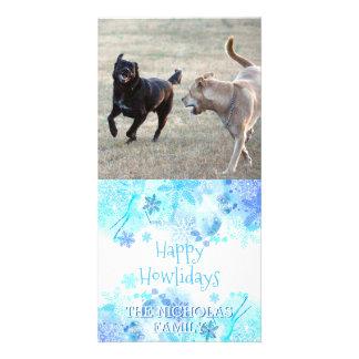 Carte Flocons de neige heureux de photo de Noël de chien