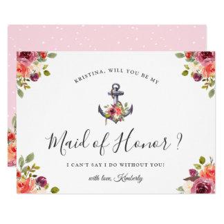 Carte Floral chic d'ancre nautique soit ma domestique