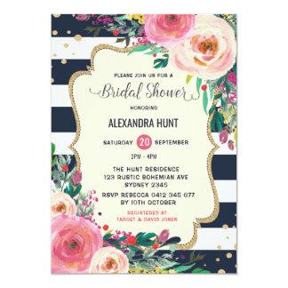 Carte Floral rustique d'invitation nuptiale de douche