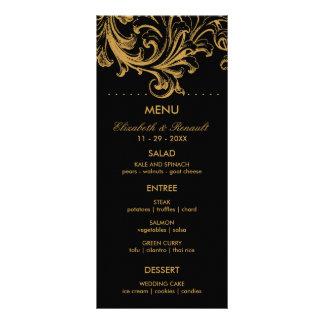 Carte florale antique de menu de mariage de noir