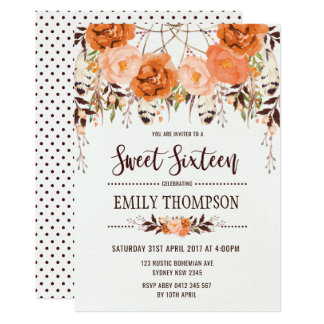 Carte florale de Dreamcatcher de sweet sixteen