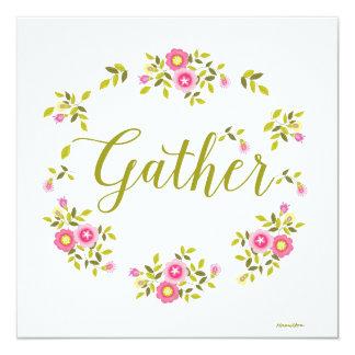 Carte florale de guirlande avec le mot carton d'invitation  13,33 cm