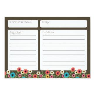 Carte florale de la recette 5x7 de thé de jardin carton d'invitation  12,7 cm x 17,78 cm