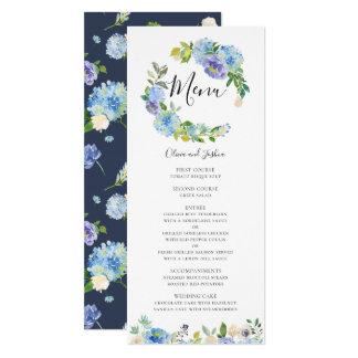 Carte florale de menu de guirlande d'hortensias