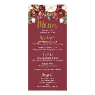 Carte florale de menu de mariage de Marsala