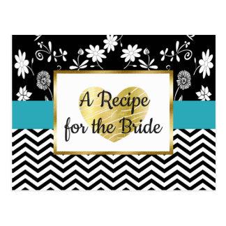 Carte florale de recette de mariage de rayure