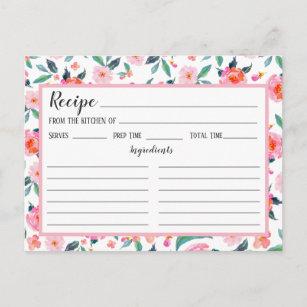 Carte florale de recette de motif de rose de rose