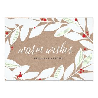 Carte florale de vacances de brins de feuille de carton d'invitation  12,7 cm x 17,78 cm