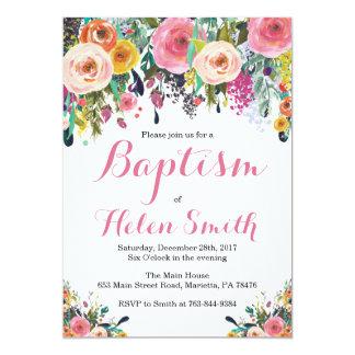 Carte florale d'invitation de baptême carton d'invitation  12,7 cm x 17,78 cm