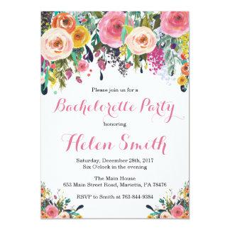 Carte florale d'invitation de partie de