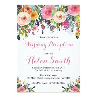 Carte florale d'invitation de réception de mariage
