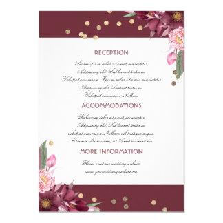 Carte florale d'invité de l'information de mariage carton d'invitation  11,43 cm x 15,87 cm