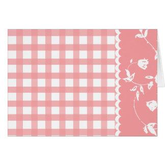 Carte florale du jour de mère de guingan rose