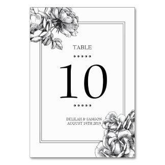 Carte florale gravée à l'eau-forte noire et