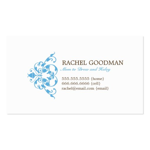 Carte florale moderne de maman/télécarte personnel modèle de carte de visite