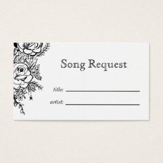 Carte florale monochrome de demande de chanson de