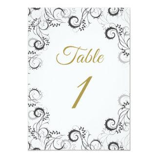 Carte florale noire et blanche élégante de Tableau