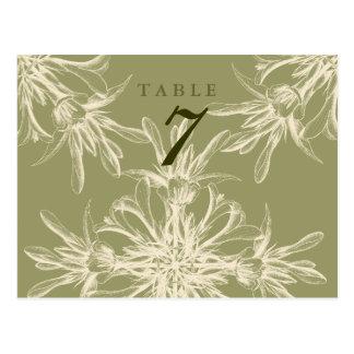 Carte florale olive antique de Tableau de mariage Carte Postale