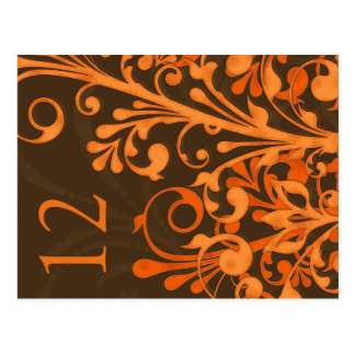 Carte florale orange de Tableau de mariage de