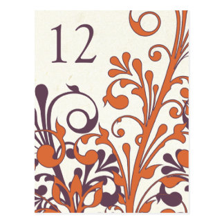 Carte florale orange pourpre de Tableau de mariage