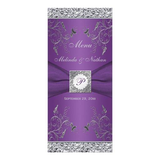 Carte florale pourpre et argentée de monogramme de carte double customisable