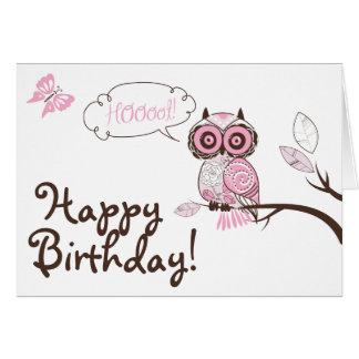 Carte florale rose de joyeux anniversaire de hibou
